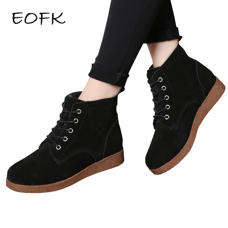 EOFK Women Ankle Boot Suede Leather Shoes Woman Winter Keep Warm Women's Boots High Top Casual Flats Shoes For Women Ladies Boot new 28 color casual boot genuine leather flats shoes shoelace shoes boot lace shoes strap shoeslaces 500pairs lot via dhl ems