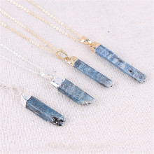 Electroplated Blue Crystal Column Necklace Gold Long Simple Clavicle Chain Female Long Natural Stone Pendant Necklaces cute crystal green fox pendant necklace for women jewelry trendy animal gold chain necklaces female clavicle accessories latest