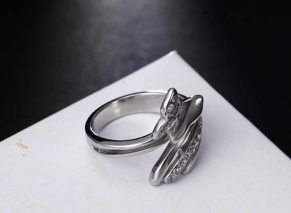 נירוסטה ליטוש גבוהה טבעת גביש מצופה טבעות לתכשיטי אופנה נשים משלוח חינם גודל מלא 6, 7, 8, 9, 10