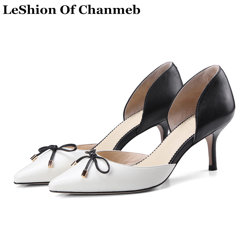 2019 fashion Two piece cow leather pumps sweet ladies butterfly knot pointed toe thin high heels