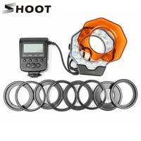 SHOOT Macro LED Ring Flash Light Speedlight Speedlite for Nikon D3400 Canon 1300D 6D Sony Hotshoe Olympus Panasonic Pentax GN15