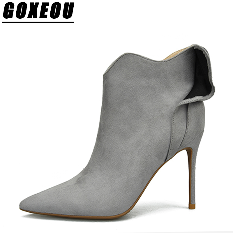 GOXEOU Winter Boots Women Sexy Women High Heel Shoes Pointed Toe Ankle Boots For Women Plus Size Shoes Woman Brand Winter Boots все цены