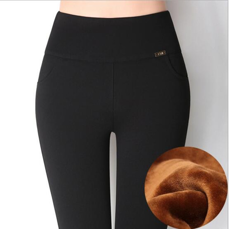 WKOUD Women's Winter   Leggings   High Waist Solid Thickening Fleeces Warm Trousers Office Lady Slim Warm Hot Pencil Pants P8410