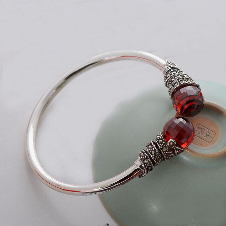 - silver 925 pure silver thai silver red zircon bracelet womens hand ring- silver 925 pure silver thai silver red zircon bracelet womens hand ring