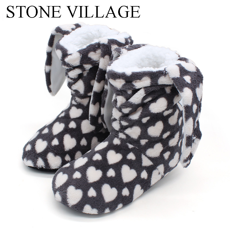 STONE VILLAGE Winter Women Slippers White Indoor Floor Shoes Female New Warm Home Slippers Cotton Slippers For Women Shoes C621