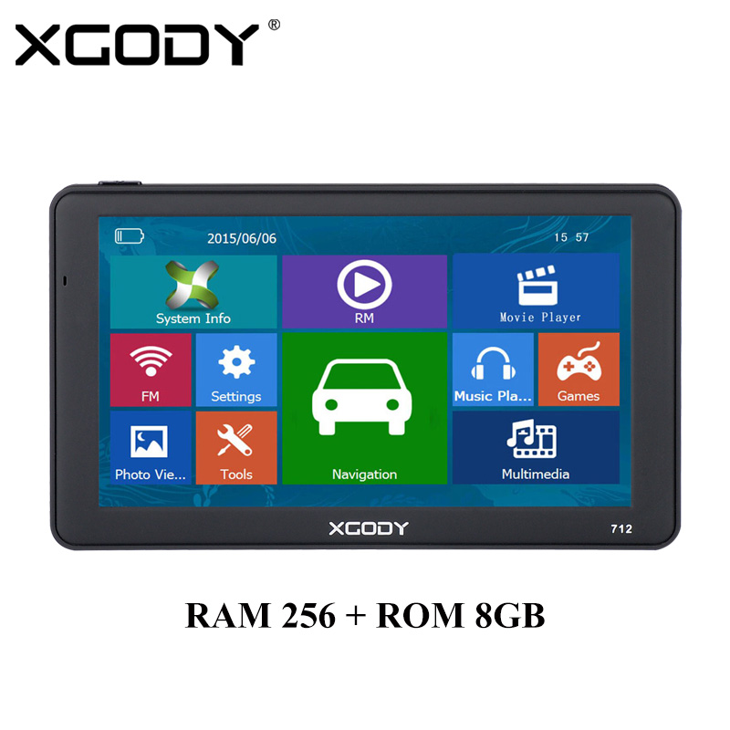 XGODY 712 7 inch GPS Navigation 256MB RAM 8GB ROM Car Truck Sat Nav Navigator With Bluetooth Sun Shade 2017 Europe Maps Free beling g710a car gps navigation with av in 7 in touch screen wince 6 0 8gb vehicle navigator fm sat map mp4 sat nav automobiles