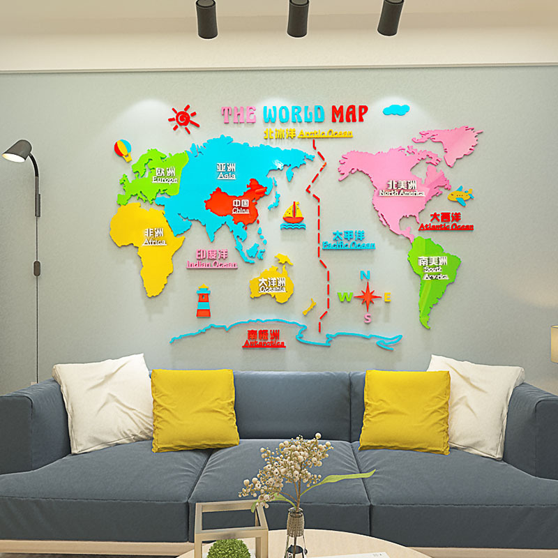 Nordic DIY cartoon world map INS chidren's room bedroom living room TV background wall decoration 3D acrylic wall sticker(China)