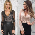 Moda Mujeres Sexy Leotardo Top Body Ladies Lace Up Plunge V-cuello Playsuit Jumpsuit