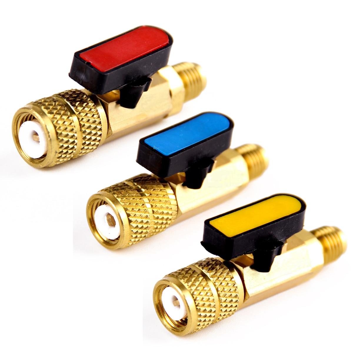 3Pcs/Set Brass R410A Refrigerant Straight Ball Valves AC Charging Hoses Brass 1/4