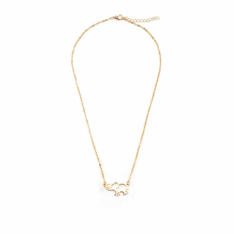 New Creative Elephant Pendant Long Chain Necklace Women Hollow Animal Clavicle Statement Necklace Jewelry