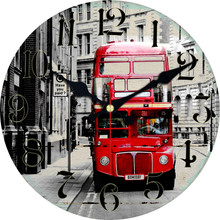 WONZOM Red Double-decker Bus Design Wall Clock For Home Decor, Art Large Watch, No Ticking Sound, Creative Decoration