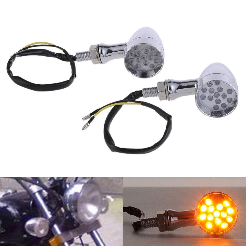 2pcs 12V LEDx14 Aluminum Motorcycle LED Turn Signal Light Indicators Amber Blinker Flashers Lighting Motorcycle Accessories