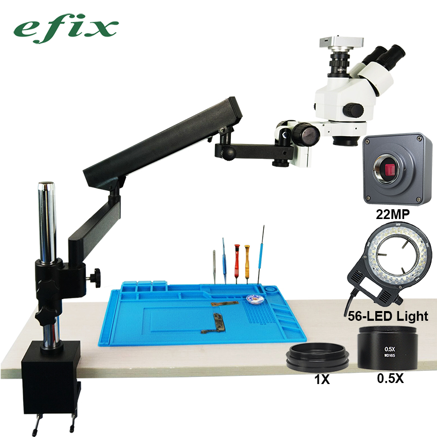 efix 22MP HDMI VGA 3 5 45X Trinocular Stereo Zoom Soldering Microscope Articulating Arm Clamp Stand