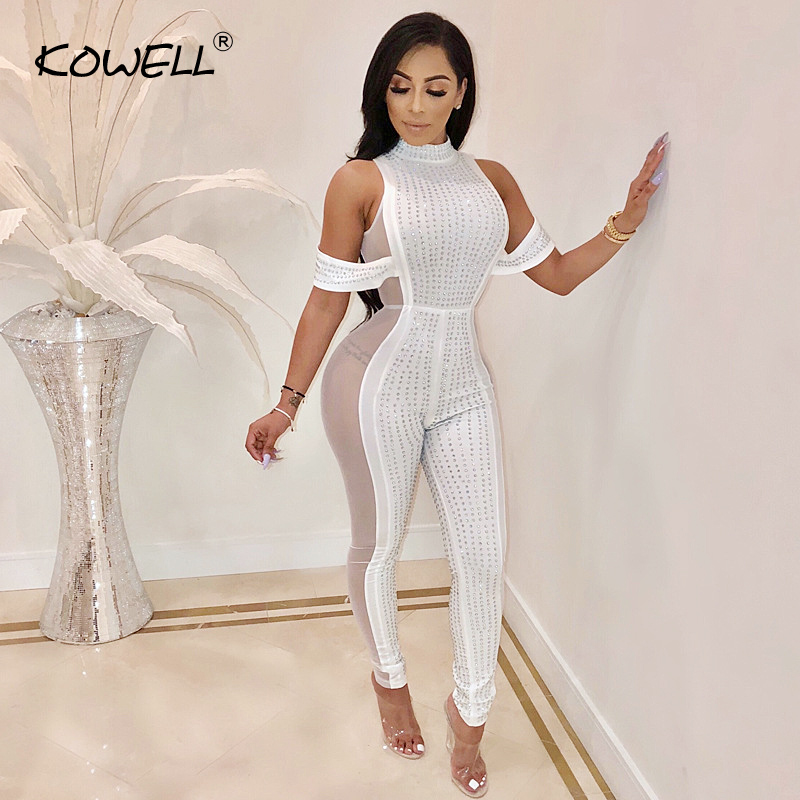 Drilling Women Jumpsuit Stand Neck Sexy Mesh Patchwork Slim Perspective Jumpsuit Night Club Female Bodycon Jumpsuit Plus Size Pants & Capris Women Bottom ! Plus Size Women's Clothing & Accessories