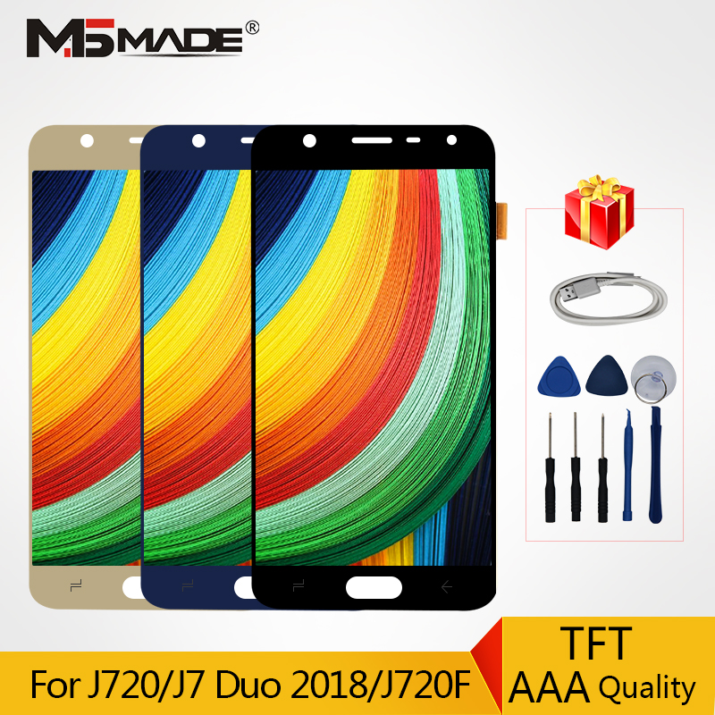 AAA Quality LCDs For Samsung Galaxy J7 Duo 2018 <font><b>J720</b></font> J720F <font><b>LCD</b></font> Display Touch Screen Digitizer Replacement Parts Assembly +Tools image