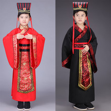 лучшая цена Children Cosplay Costume Boys performance clothes Hanfu Warring States Ancient Chinese Costume minister clothing girl robes