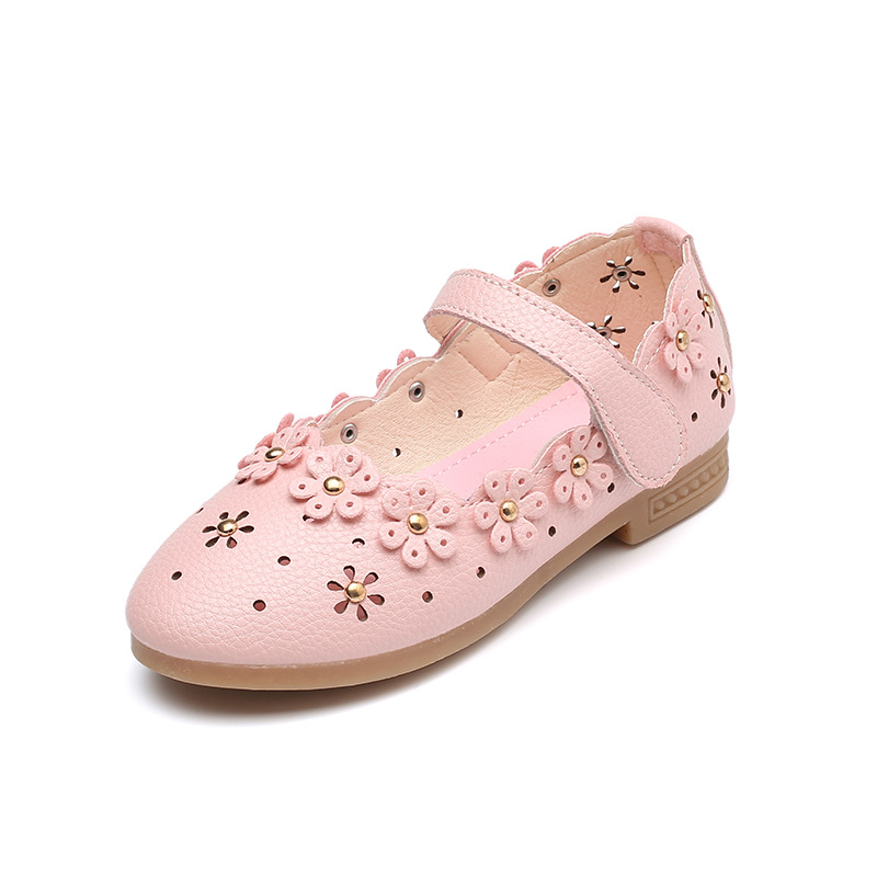 꼬마 소녀 파티 신발 2019 가을 새로운 핑크색 중공 귀여운 꽃 힘줄 부드러운 하단 낮은 플랫 신발 키즈 여자 공주 신발