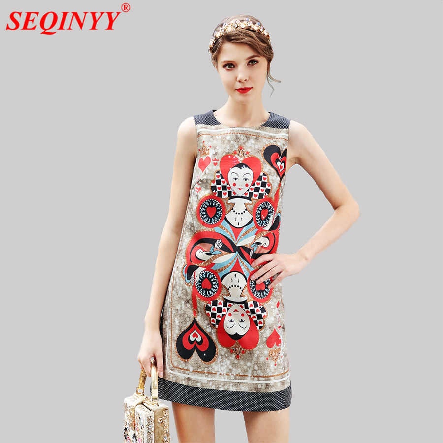 Vintage Cultivate Print Women Dress 2018 Summer New Arrival Sleeveless Abstract Characters Print A-Line Slim Mini Tank Dresses
