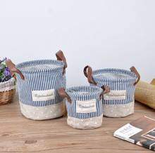 Three-Pieces / set High Quality Striped cloth foldable fabric storage basket ZAKKA cesto de roupa suja