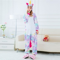 Cute Cartoon Animal Colored Unicorn Pajamas Flannel Hooded Long Sleeve Adult Unicorn Pajamas Sleepwear For Women