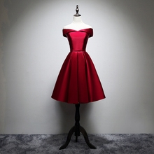 ANGELSBRIDEP Real Photo Short Prom Dress Burgundy Gown A line Satin Formal Wedding Party Dresses Cocktail Gown