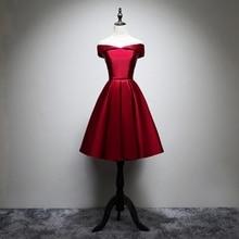 ANGELSBRIDEP prawdziwe zdjęcie z krótkim suknia burgundii suknia ślubna line, satynowe, formalne suknie ślubne suknia koktajlowa