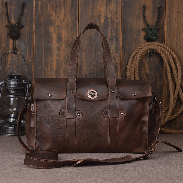 ARTICLE ONE MEN'S CRAZY HORSE REAL LEATHER DUFFEL BAG