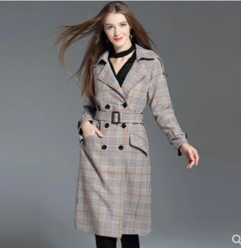 Plus Vêtements Desserrer Plaid Nouvelles Super De yelow La Hiver Femmes Breasted S Plaid Manteau Mode Pardessus Taille Double Tranchée 4xl 2018 Long Coffee Automne Black White gc8qxETR