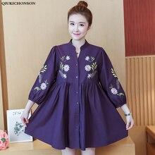Lantern Sleeve Korean Chic Plus Size Women Shirt Dress 2019 Casual Embroidery Spring High Waist Stand Collar Mini 4XL 5XL