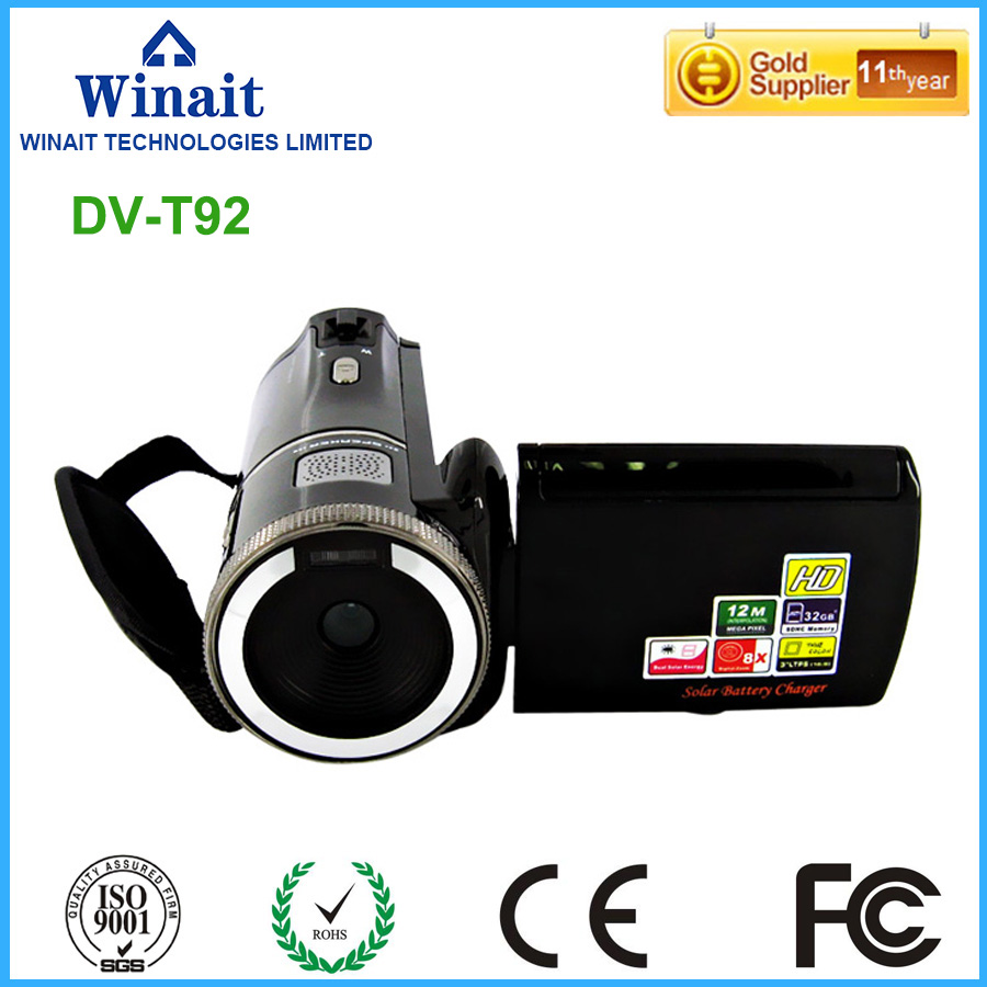 12MP 8X digital zoom digital video camera HDV-T92 dual solar charging 720p hd photo camera video camcorder hot sale easy use hd 720p 12m 8x digital zoom video camcorder camera gift for family happy recording 1pc