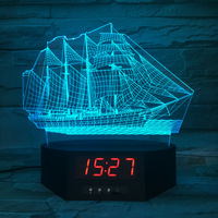 Sailing Acrylic 3D Night Light LED Calendar Desk Lamp 7 Color Change Clock Creative Kid S