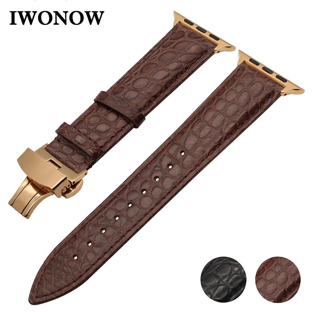 Bracelet en cuir de Crocodile véritable pour montre Apple iWatch 38mm 40mm 42mm 44mm série 5 4 3 2 1 bande fermoir papillon bracelet Croco