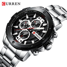 цена CURREN Man Watches 2019 Luxury Brand Military Quartz Watch Waterproof Men Silver Black Steel Band Sub Dial Date Chronograph Gift онлайн в 2017 году