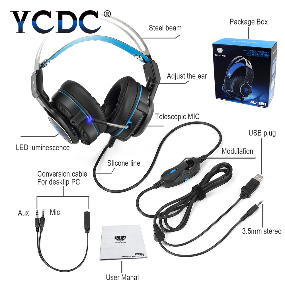все цены на  YCDC 3.5mm Wired Headphones with Microphone Gaming Headset USB LED Light Earphones for Computer PC Gamer PS4 7.1 Fone De Ouvido  онлайн