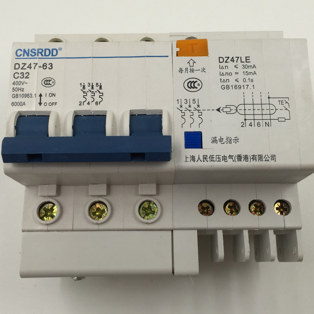 DZ47LE-63 Disjoncteur 3P N 10A Circuit r/ésiduel 400V 10A Protection contre les surintensit/és de terre