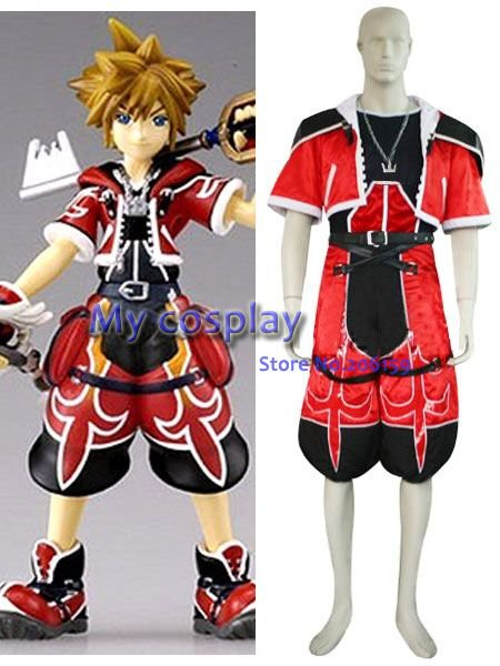 Anime Kingdom Hearts 2 Sora Brave Form cosplay costume for Halloween Cosplay  parties Sora Red Summer