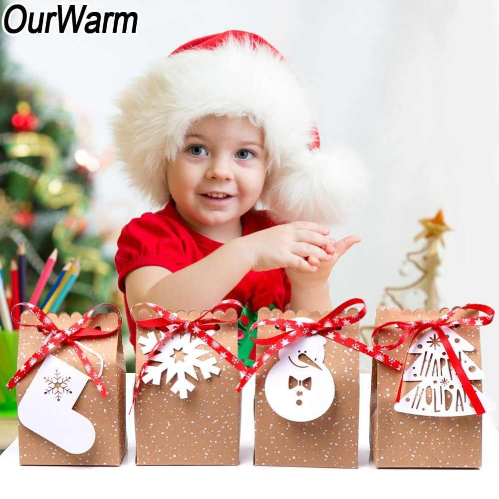Bolsas de dulces en caja de regalo de Navidad de papel Kraft para 4 Uds., etiquetas blancas, cinta de copos de nieve roja, fiesta de Navidad, Año Nuevo 2019