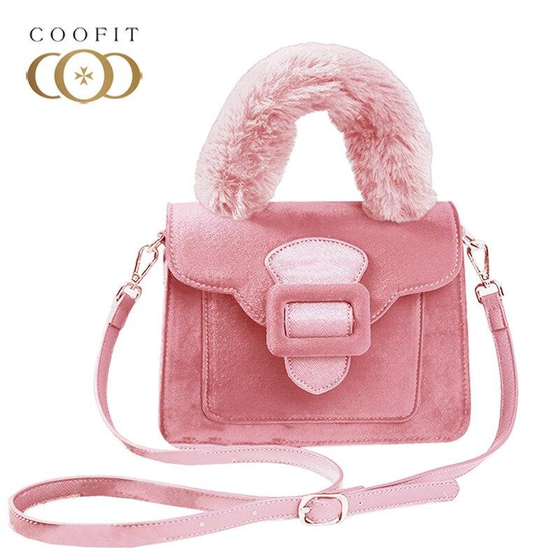 Coofit Faux Fur Bag Handle Mink Bag Strap Women Fashion Flap Cover Handbag Messenger Satchel Bags Female Luxury Top Handle Bags