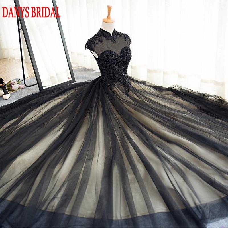 Svart långa Lace Evening Dresses Party Tulle Pärlstav High Neck - Särskilda tillfällen klänningar - Foto 2