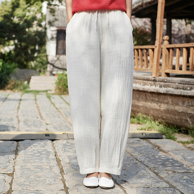 New National Style Casual Drawstring Cotton Linen Women Pants Spring Summer Retro Women Straight Pants