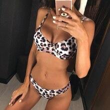 6 Colors Sexy Leopard 2019 Bikini Women Swimwear Female Swimsuit Two-pieces Bikini set Brazilian Bather Bathing Suit Swim V871