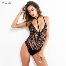Weyes & Kelf Sexy Skinny Solid Lace Bodysuits 2019 Halter Bodysuit Women Rompers Body Feminino Bodycon Jumpsuit