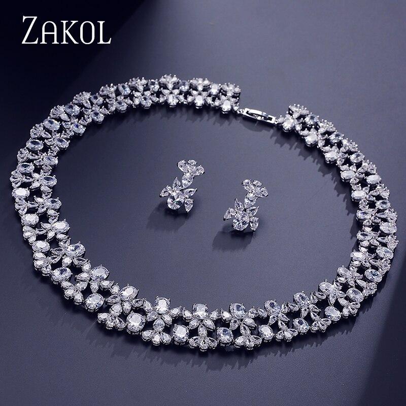 ZAKOL luxe femmes bijoux ensembles fleur Pave Zircon collier boucles d'oreilles ensemble bijoux clairs pour mariée mariage dîner robe FSSP296