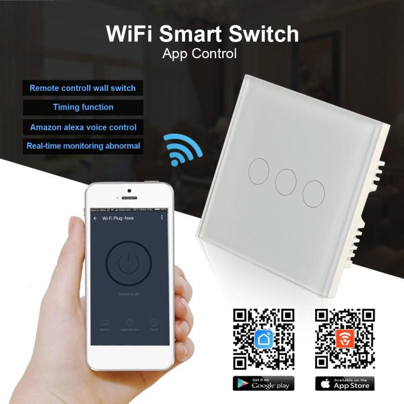 Touch Switch White Crystal Glass Panel AC220V 3 Gang 1 Way Light Wall Touch Screen Switch UK Standard White Z25