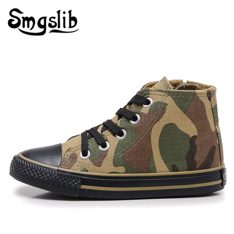 Girls Canvas Shoes Kids Camo Sneakers