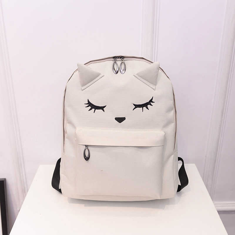 Cute Cartoon Embroidery Cat Printing Backpack Canvas Backpacks For Teenage Girls College Style Casual Backpack Mochilas APB10