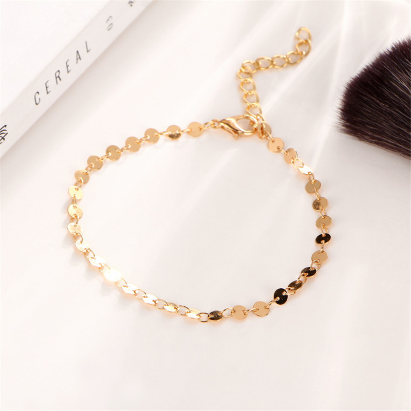 MISANANRYNE Simple Women/Men Bangle Gold Color personality retro alloy round Flat sequins Link Chain Bracelet Pulseira 11