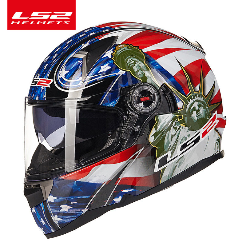 Original LS2 FF396 fiberglass full face helmet motorcycle helmet with sunshiled airbag racing moto helmet ECE Certification