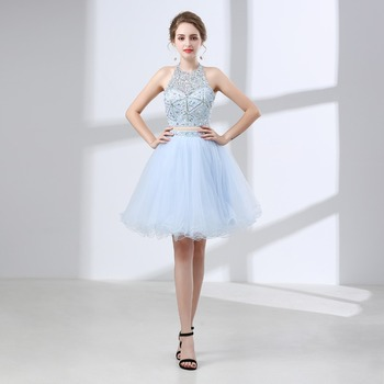 JaneVini Size 2-10 In Stock Luxurious Beaded Juniors Bridesmaid Dresses Short Tulle Halter 2 Pieces Wedding Party Dress Formal