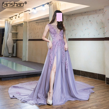Lavender Lilac Appliques Elegant High Split Evening Dress Custom Made Chic Illusion Women Formal Maxi Gowns for Celebrity